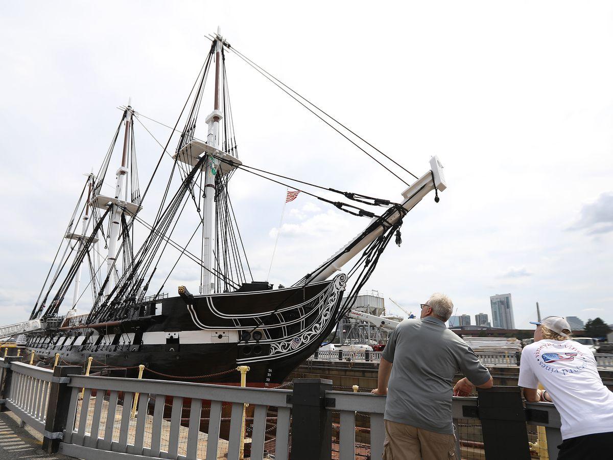 An 18th-century battleship being restored.