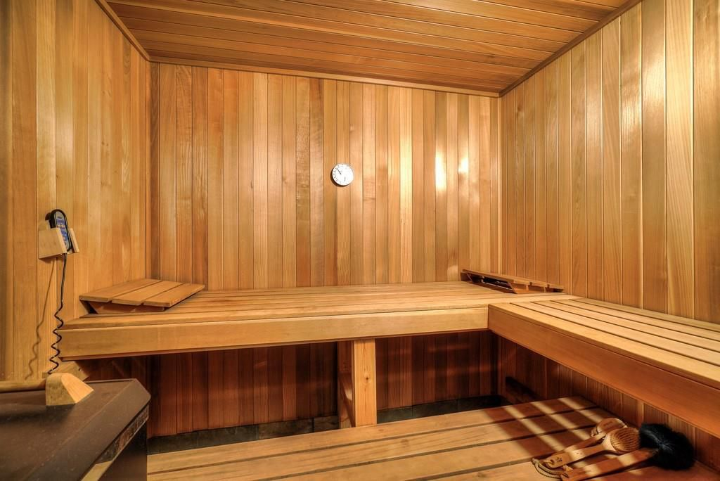 A sauna with much wood.