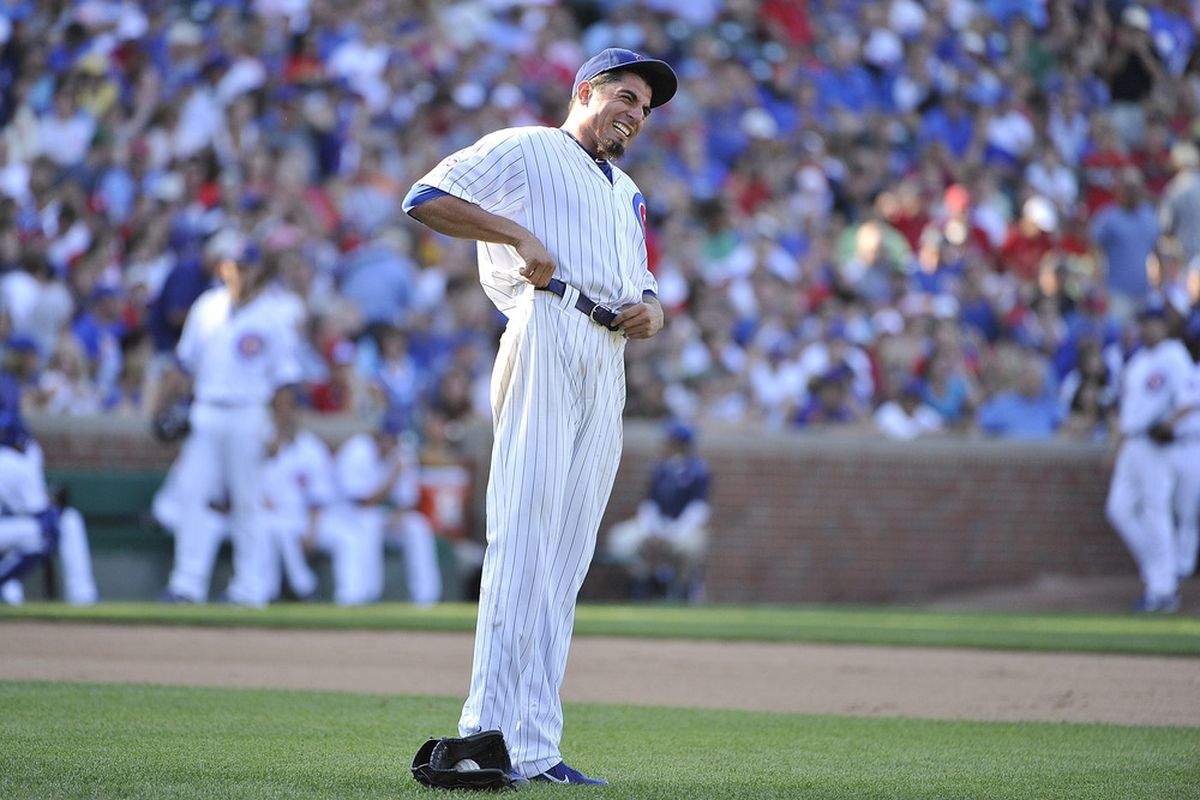 Starting pitcher Matt Garza of the Chicago Cubs adjusts his pants during the seventh inning against the St. Louis Cardinals at Wrigley Field in Chicago, Illinois. The Cubs defeated the Cardinals 3-0.  (Photo by Brian Kersey/Getty Images)