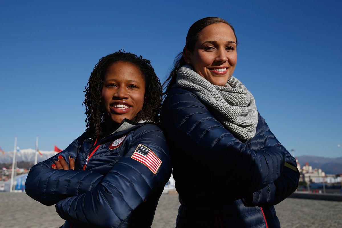 UM Alum and Olympic medalist Lauryn Williams (left) with Lolo Jones