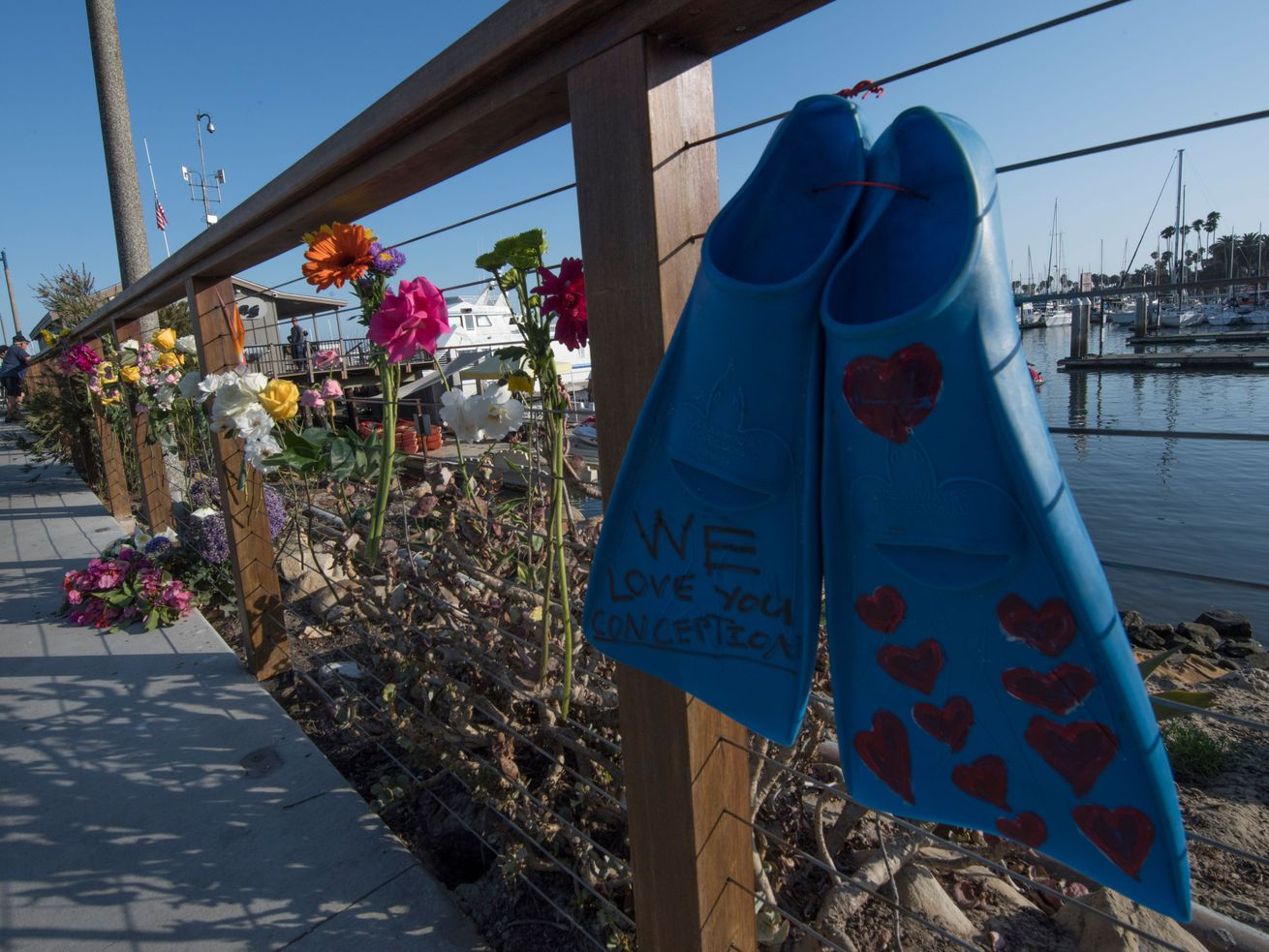 A memorial wall with a pair of diving fins and flowers.