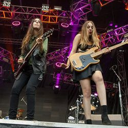Two of the HAIM sisters in action