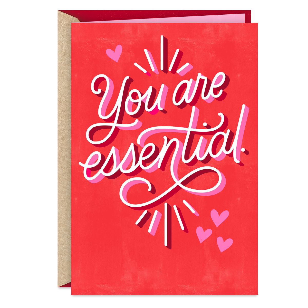 """A card that says """"You are essential"""" on the front."""