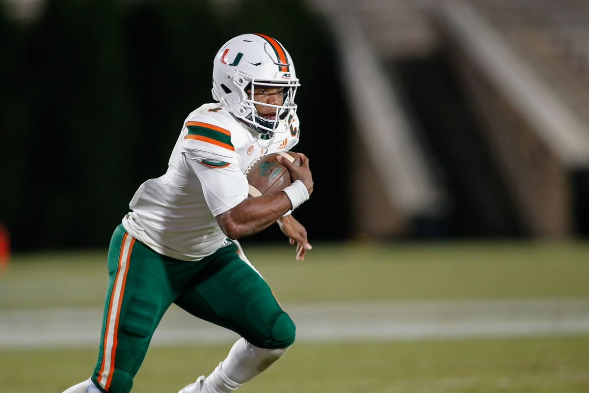 Miami Hurricanes quarterback D'Eriq King rushes the football against the Duke Blue Devils in the third quarter at Wallace Wade Stadium. The Miami Hurricanes won 48-0.