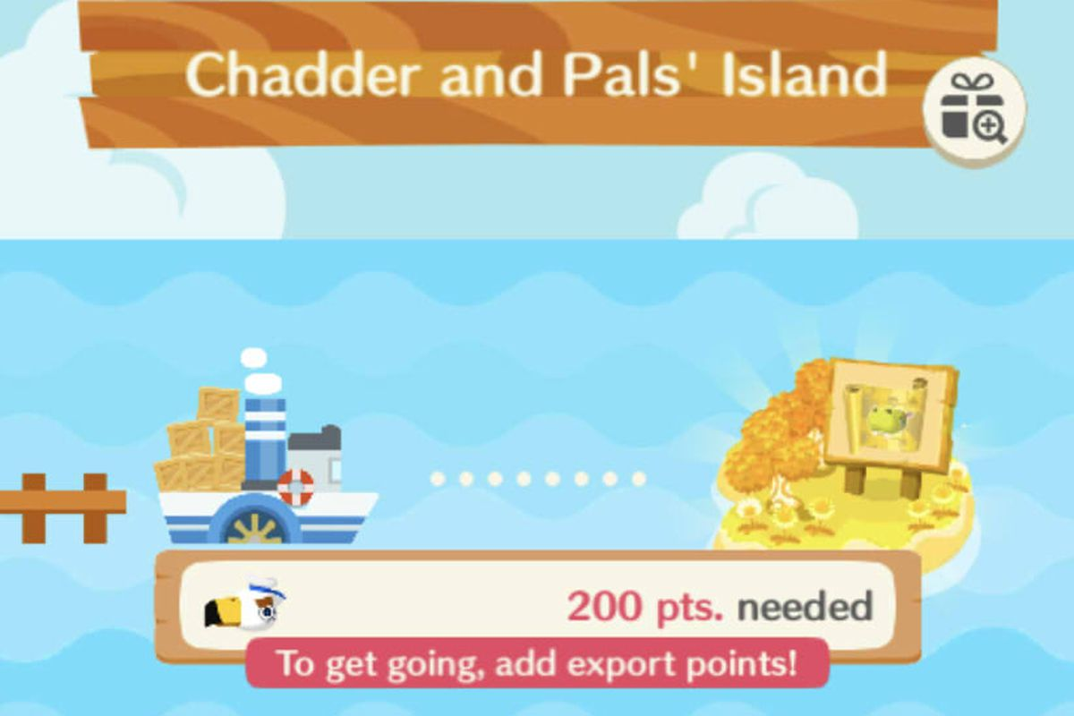 """Visiting """"Chadder and Pals' Island"""" requires 200 points worth of rare items in Animal Crossing: Pocket Camp"""