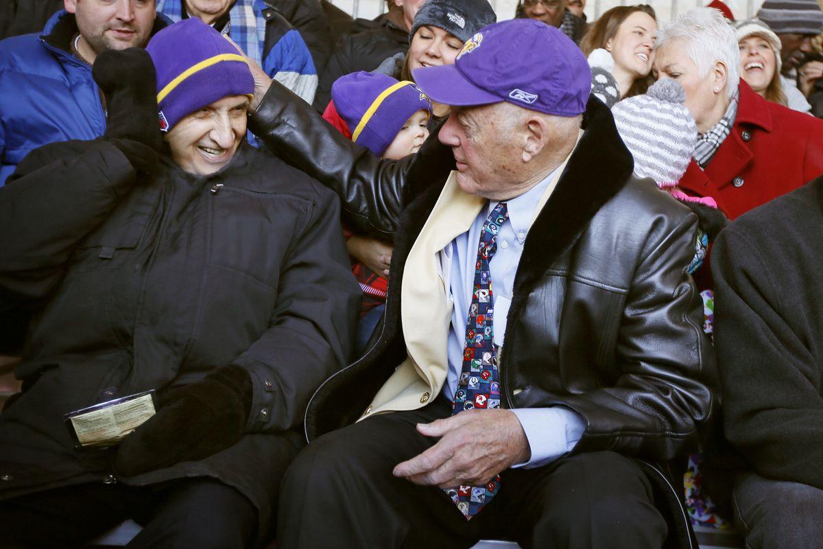 Star Tribune columnist Sid Hartman left, former Vikings coach Bud Grant, and former Vikings linebacker Matt Blair attended a ceremony were a street was dedicated honor Bud Grant near the new Vikings stadium December 1, 2014 in Minneapolis, MN. ] Jerry Hol