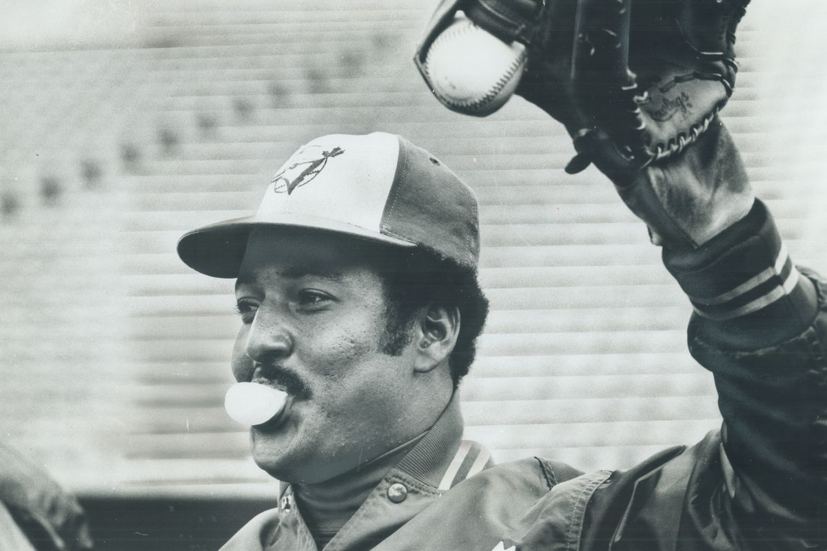 It's bubble-gum. Not a snowball outfielder Otto Velez is chewing during the Toronto Blue Jays first