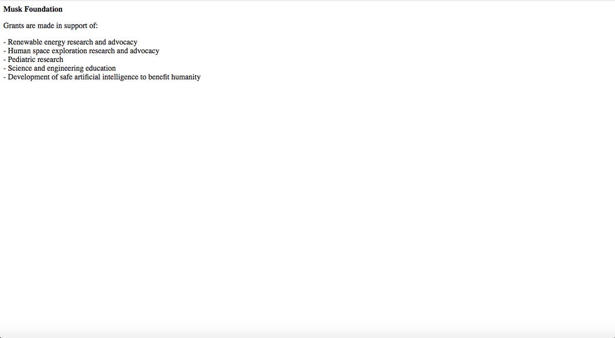 A screenshot of the website of Elon Musk's foundation.