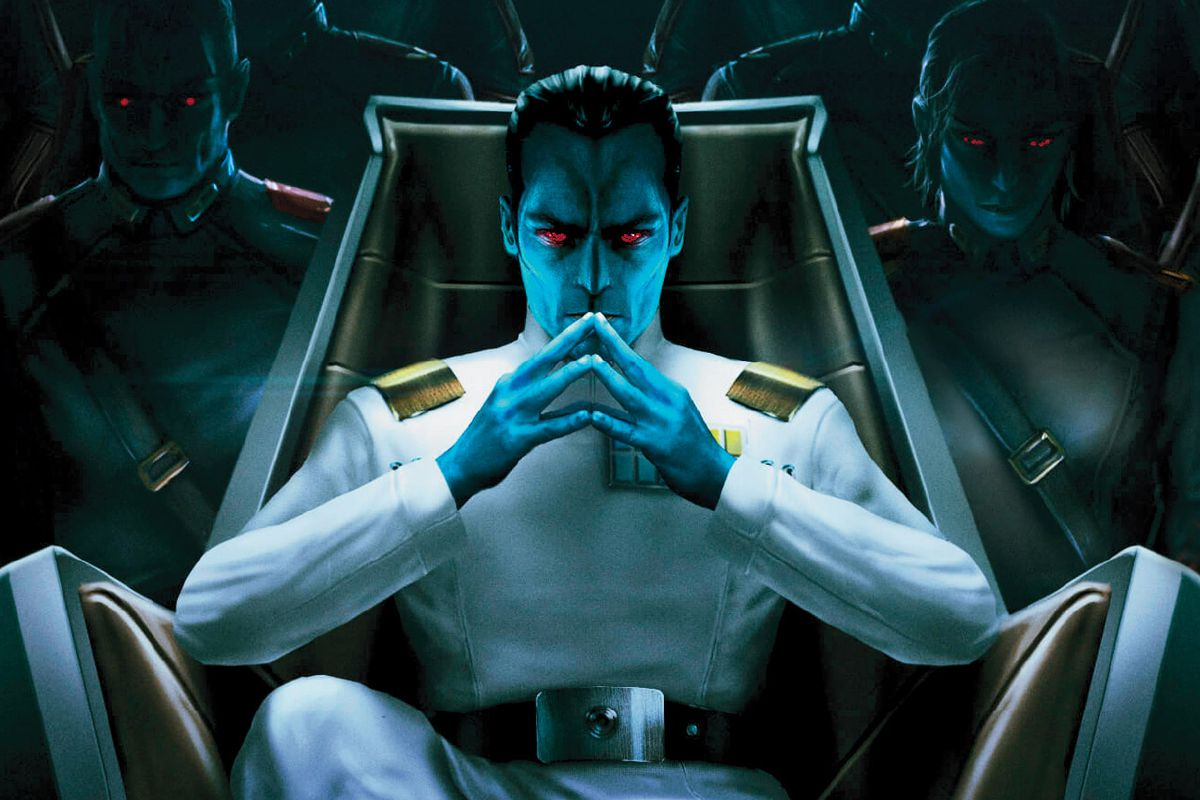 Grand Admiral Thrawn and some Chiss in the background.