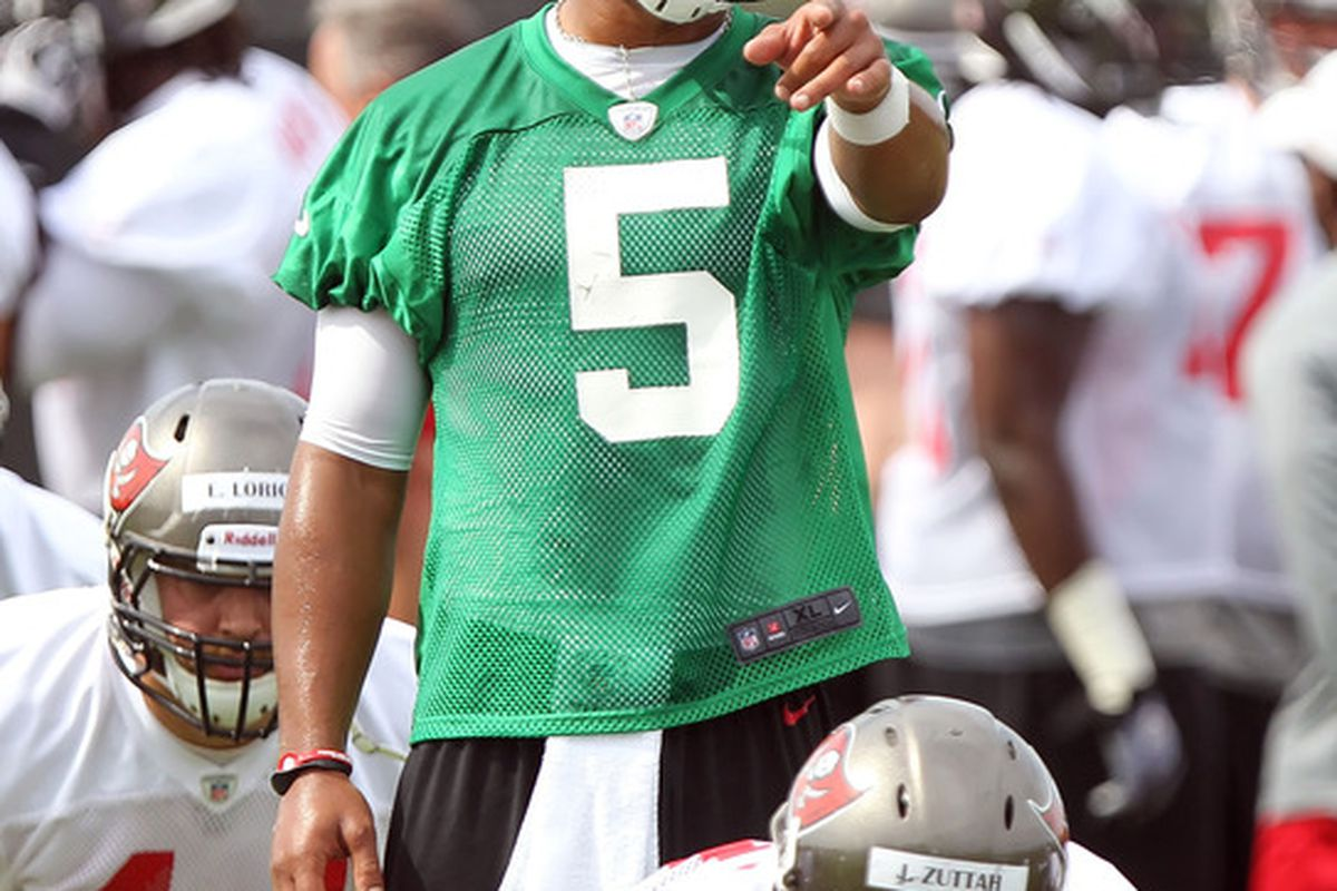 May 15, 2012; Tampa, FL, USA;  Tampa Bay Buccaneers quarterback Josh Freeman (5) works out during organized team activities at One Buc.   Mandatory Credit: Kim Klement-US PRESSWIRE