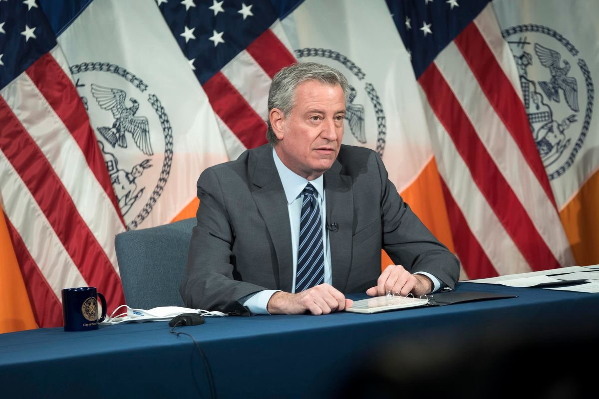 Mayor Bill de Blasio holds a press conference at City Hall, March 10, 2021.