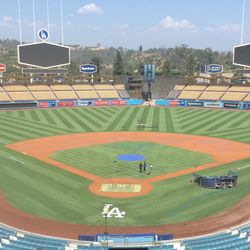 Dodger Stadium, press box view