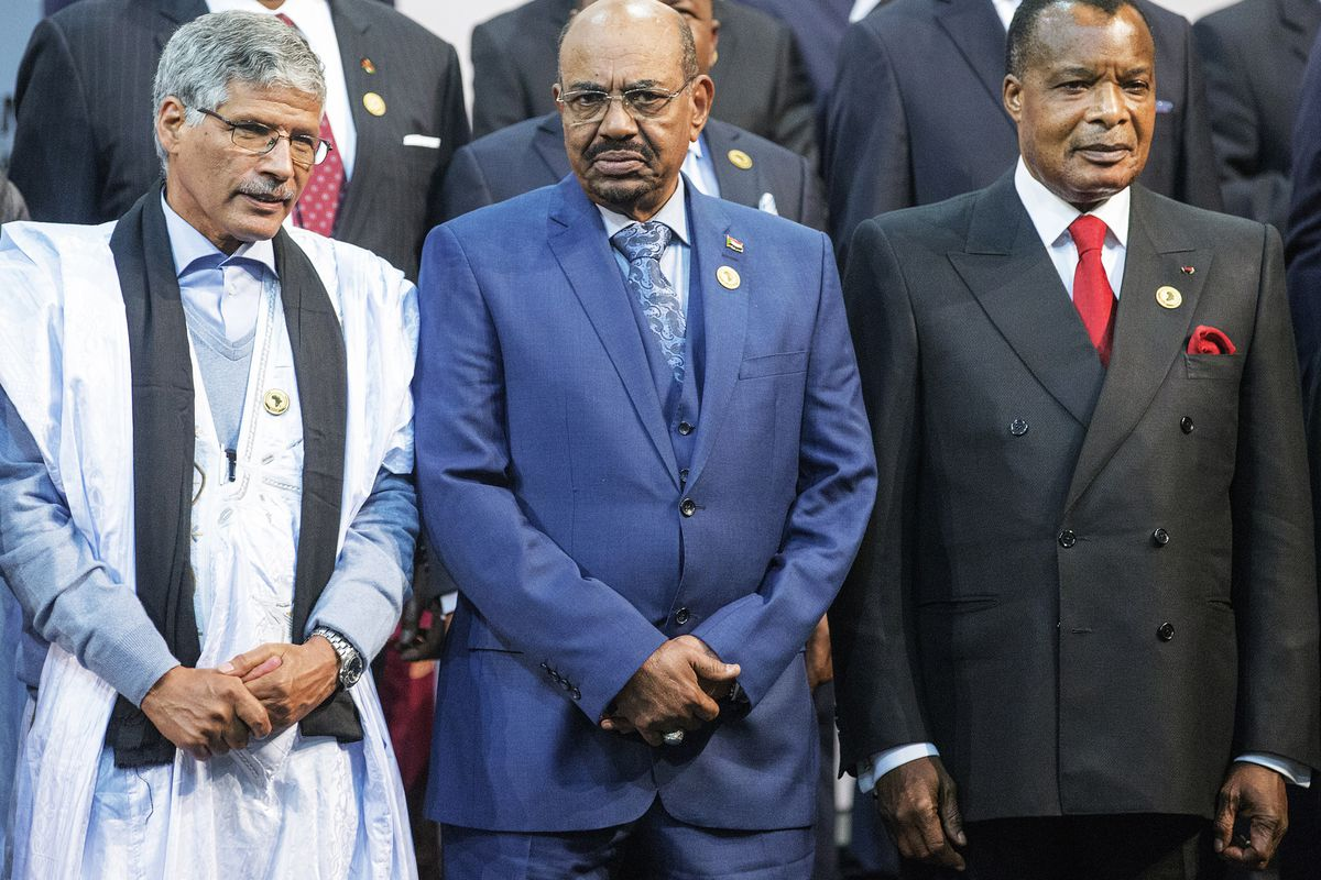 Sudanese leader Omar al-Bashir, center, at the African Union summit in Johannesburg, South Africa.