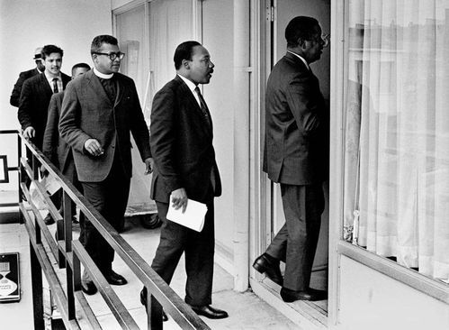 April 3, 1968 – Rev. Ralph Abernathy led Dr. Martin Luther King Jr., Rev. James M. Lawson Jr. and others into Room 307 at the Lorraine Motel to discuss a restraining order barring another march in Memphis.