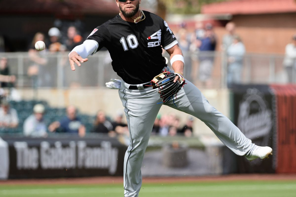 c2ac6ca6211 Yoan Moncada of the Chicago White Sox throws the ball to make an out  against the San Francisco Giants during the spring game at Scottsdale  Stadium on ...