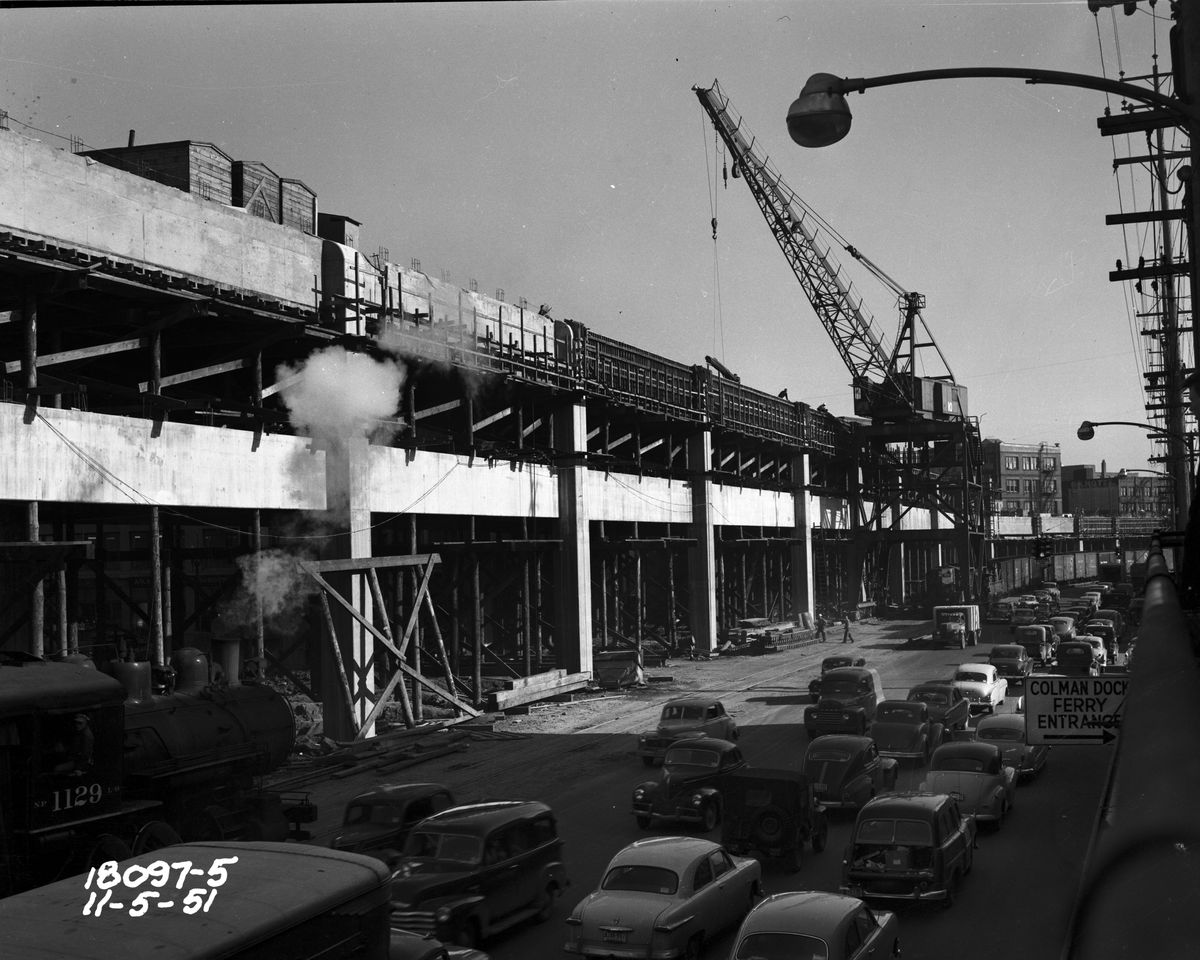 A viaduct under construction. This is an old black and white photograph.