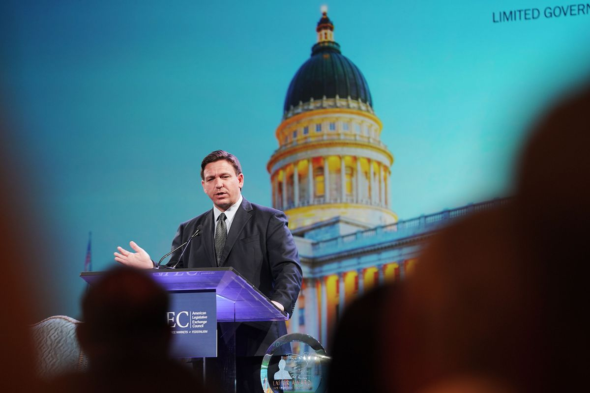 Florida Gov. Ron DeSantis, a potential GOP presidential candidate, speaks during theAmerican Legislative Exchange Council (ALEC) conference in Salt Lake City on Wednesday, July 28, 2021.