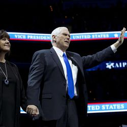 Vice President Mike Pence and his wife Karen wave to the crowd at the 2017 American Israel Public Affairs Committee (AIPAC) policy conference in Washington, Sunday, March 26, 2017.