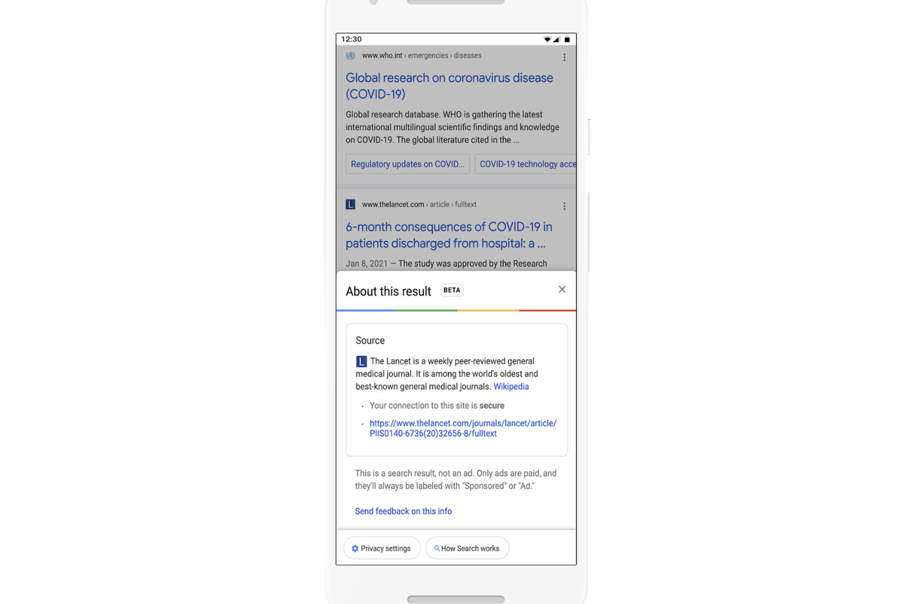 Google adds 'about this result' information in search to help vet websites before you click