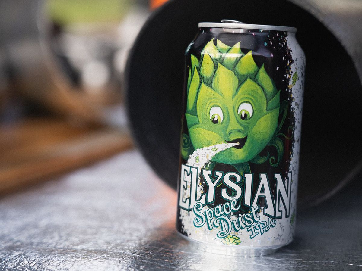 A can of beer from Elysian Brewing with a smiling hop logo