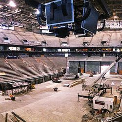 Members of the media tour Vivint Smart Home Arena in Salt Lake City on Tuesday, June 27, 2017, during renovation of the arena.