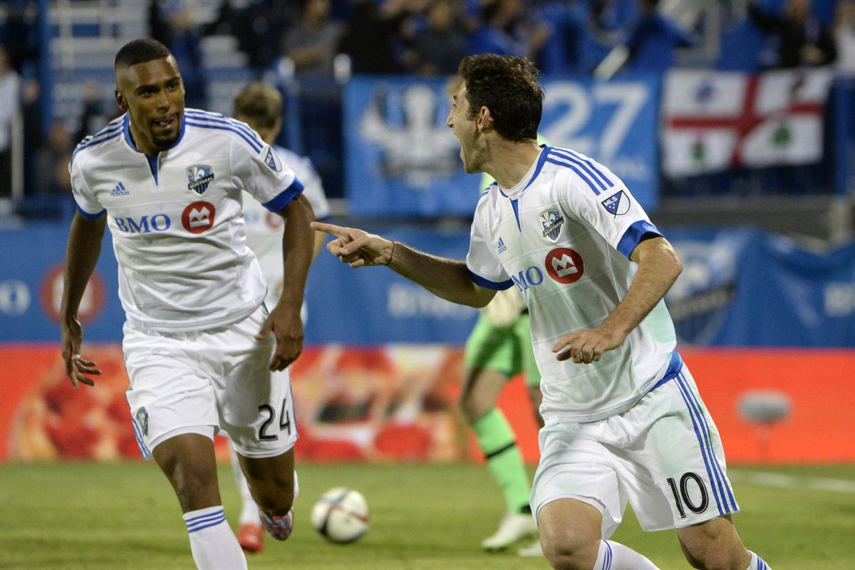 Piatti celebrates with teammates after winning goal on Wednesday.