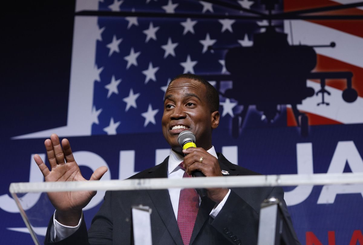 John James, Michigan GOP Senate candidate, speaks at an election night event after winning his primary election at his business James Group International August 7th, 2018 in Detroit, Michigan.