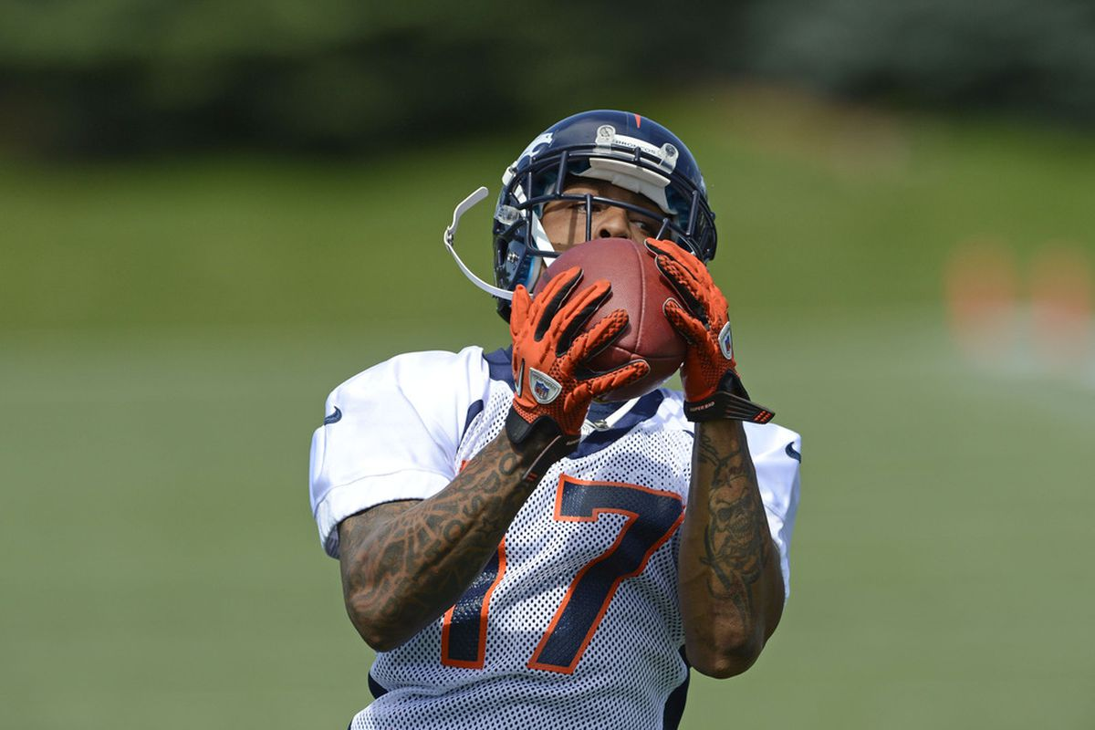 June 12, 2012; Englewood, CO, USA; Denver Broncos wide receiver Andre Caldwell (17) during Minicamp at the Denver Broncos training facility. Mandatory Credit: Ron Chenoy-US PRESSWIRE