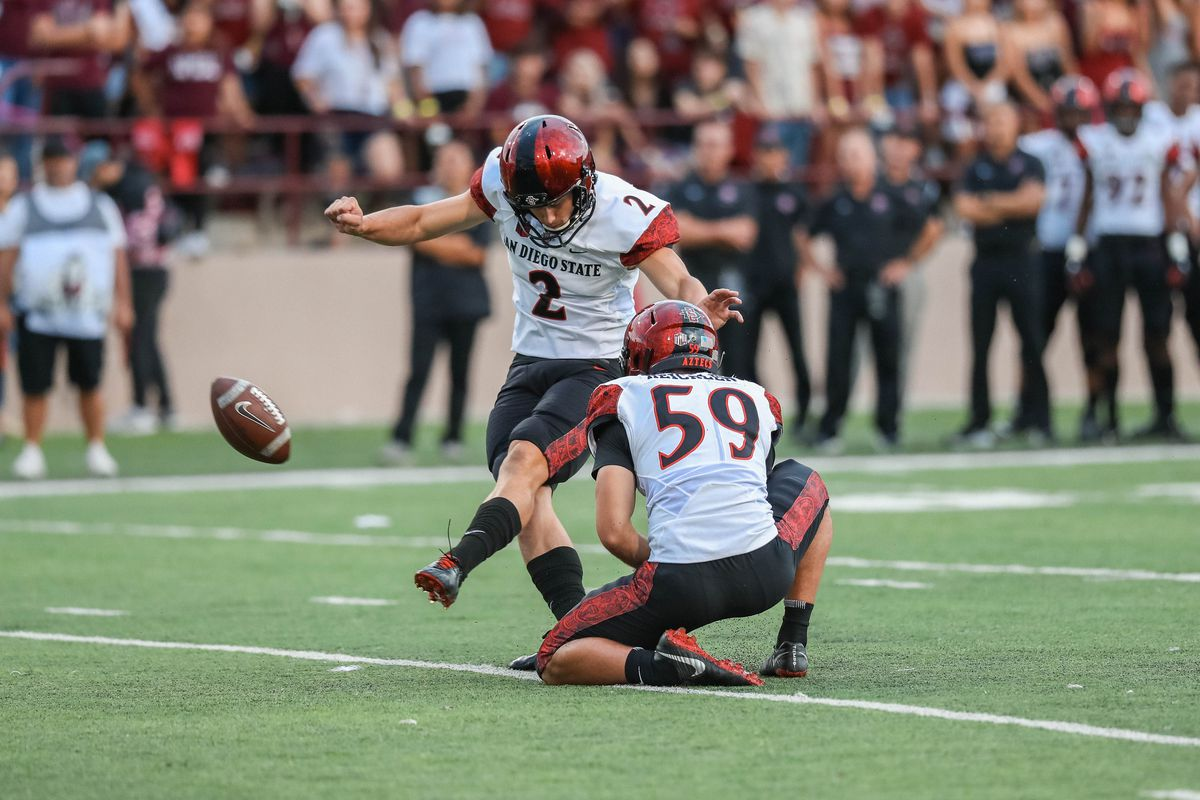 San Diego Redshirt Freshman Matt Araiza (3) kicks a field goal in the first half during a game against San Diego State at Aggie Memorial Stadium in Las Cruces on Saturday, Sept. 14, 2019.