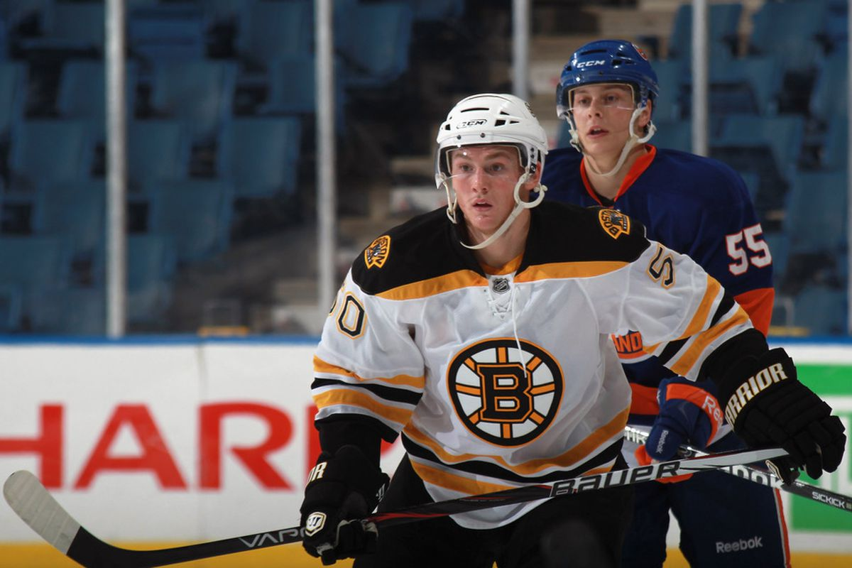UNIONDALE, NY - SEPTEMBER 12: Jared Knight #50 of the Boston Bruins skates against the New York Islanders during a rookie game exhibition at Nassau Coliseum on September 12, 2011 in Uniondale, New York.  (Photo by Bruce Bennett/Getty Images)