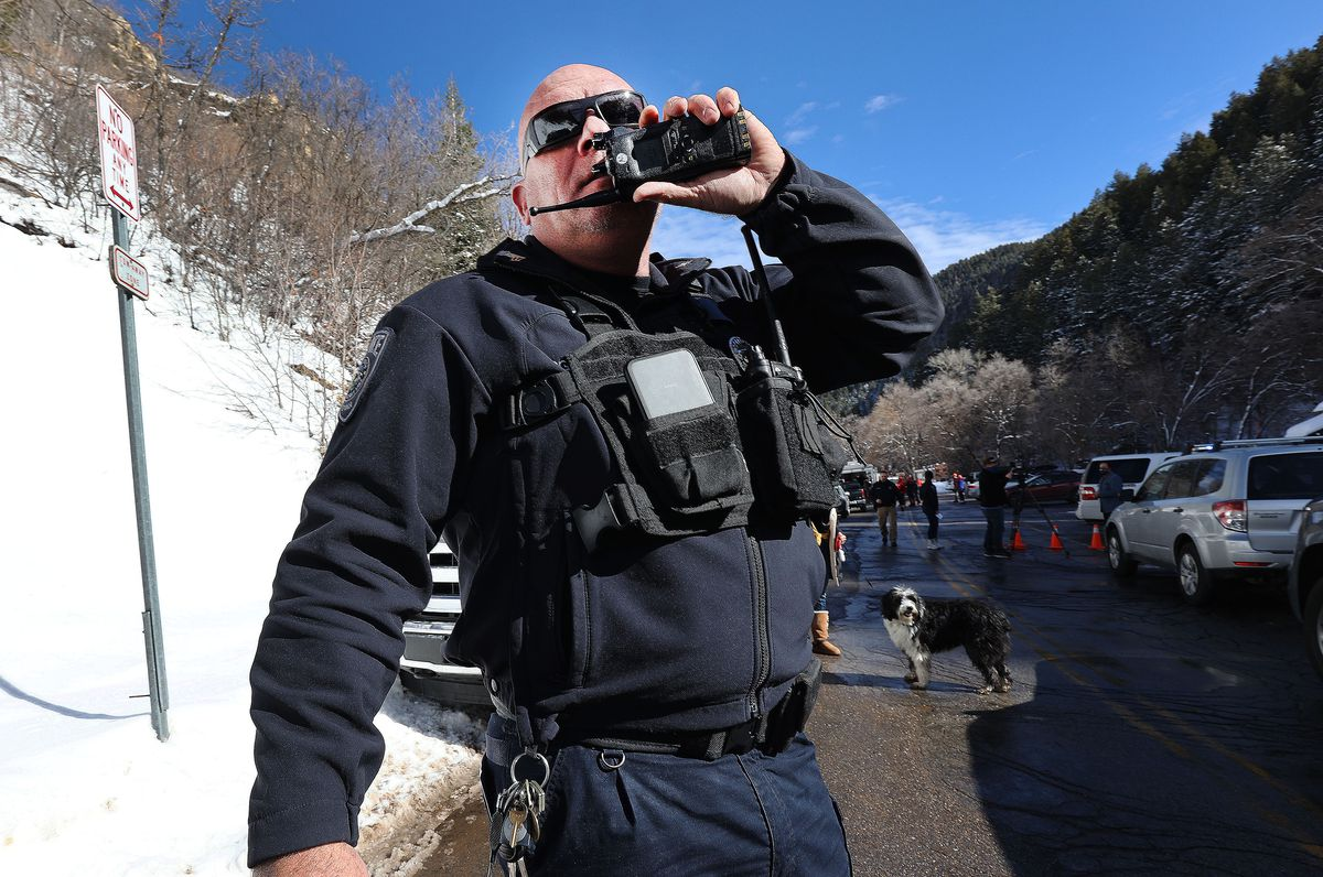 Unified Police Sgt. Ed Twohill organizes efforts for rescue of people that may have been caught in an avalanche in Millcreek Canyon in Salt Lake County on Saturday, Feb. 6, 2021.