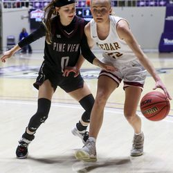 Cedar competes against Pine View during the 4A girls championship basketball game at the Dee Events Center in Ogden on Saturday, Feb. 29, 2020.