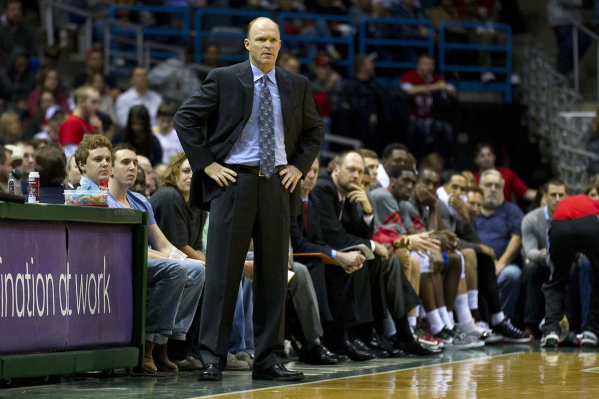 Mar 31, 2012; Milwaukee, WI, USA;  Milwaukee Bucks head coach Scott Skiles looks on during the fourth quarter against the Memphis Grizzlies at the Bradley Center.  The Grizzlies defeated the Bucks 99-95.  Mandatory Credit: Jeff Hanisch-US PRESSWIRE