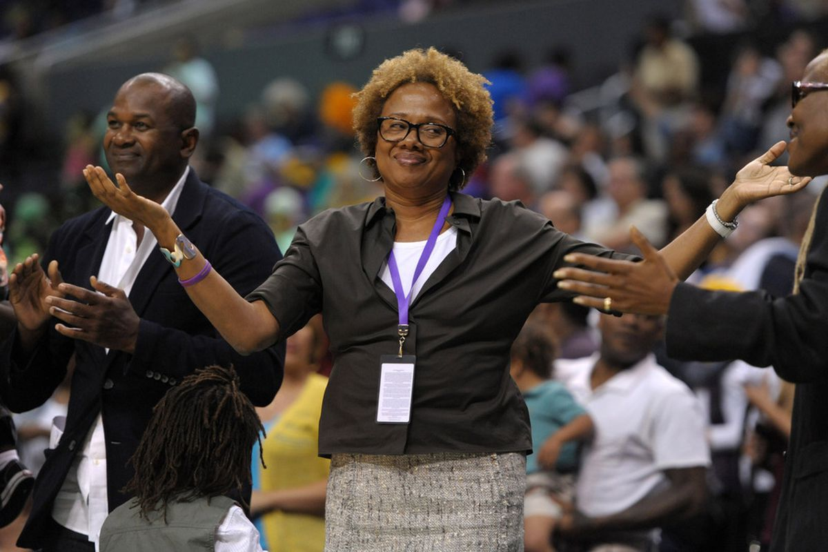 Here's Sparks owner Paula Madison reacting to a play at a game.