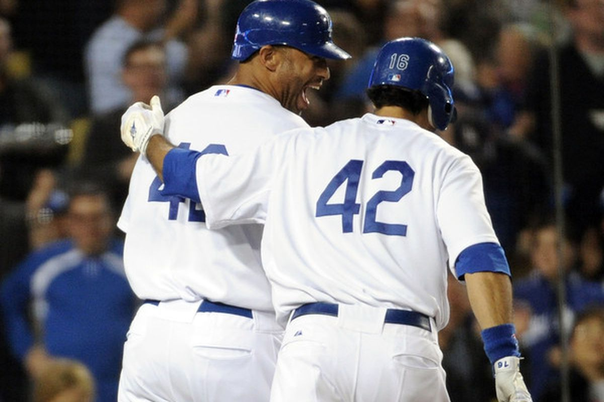 LA Dodgers wearing number 42 in honor of Jackie Robinson last year against SF Giants.  (Photo by Harry How/Getty Images)