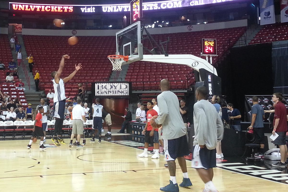 Zach Andrews working on his low post skills at NBA Summer League