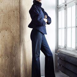 Dark navy jacket made of 100% organic cotton, $99; Palazzo pant, $49.95