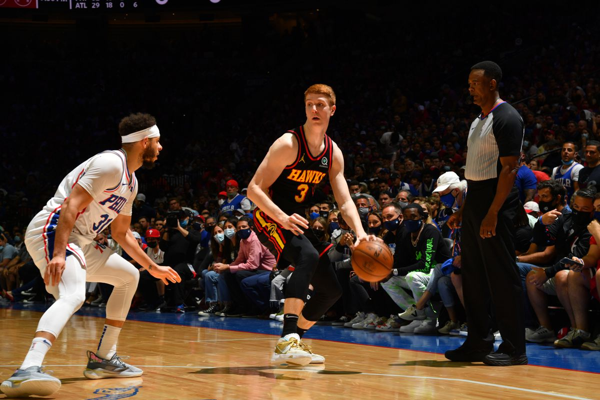 Kevin Huerter of the Atlanta Hawks handles the ball against the Philadelphia 76ers during Round 2, Game 7 of the Eastern Conference Playoffs on June 20, 2021 at Wells Fargo Center in Philadelphia, Pennsylvania.