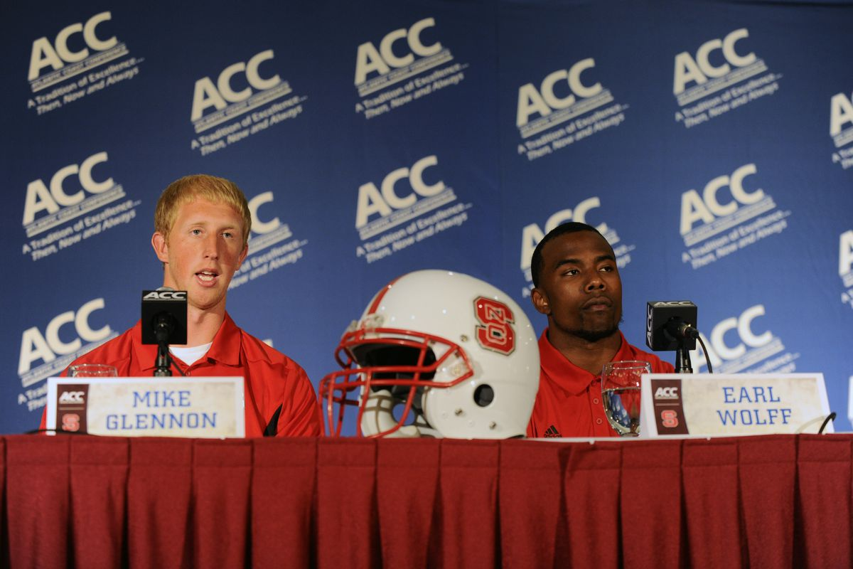 July 22, 2012; Greensboro, NC, USA; NC State Wolfpack quarterback Mike Glennon (8) and safety Earl Wolff (27) during ACC media day at the Grandover Resort in Greensboro NC. Mandatory Credit: Sam Sharpe-US PRESSWIRE