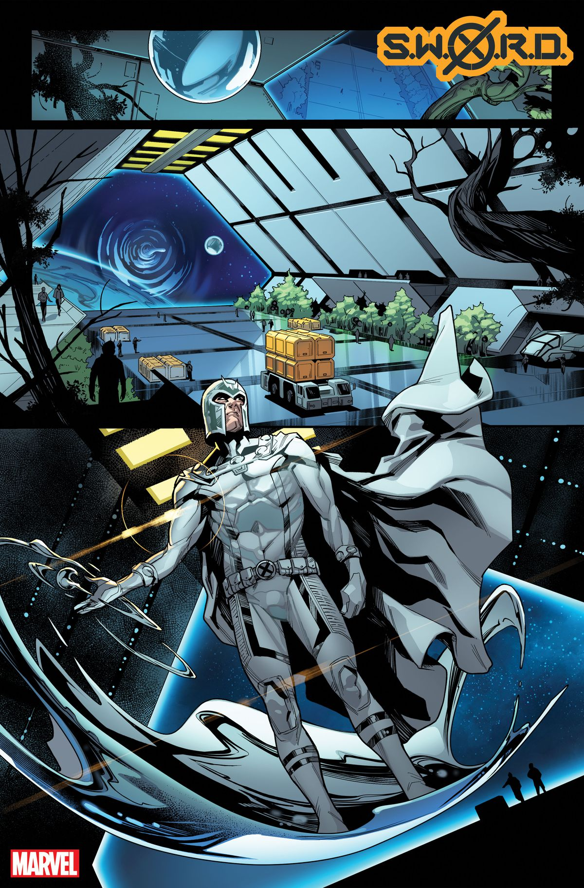 Magneto arrives on the SWORD station in an unfinished page from SWORD #1, Marvel Comics (2020).