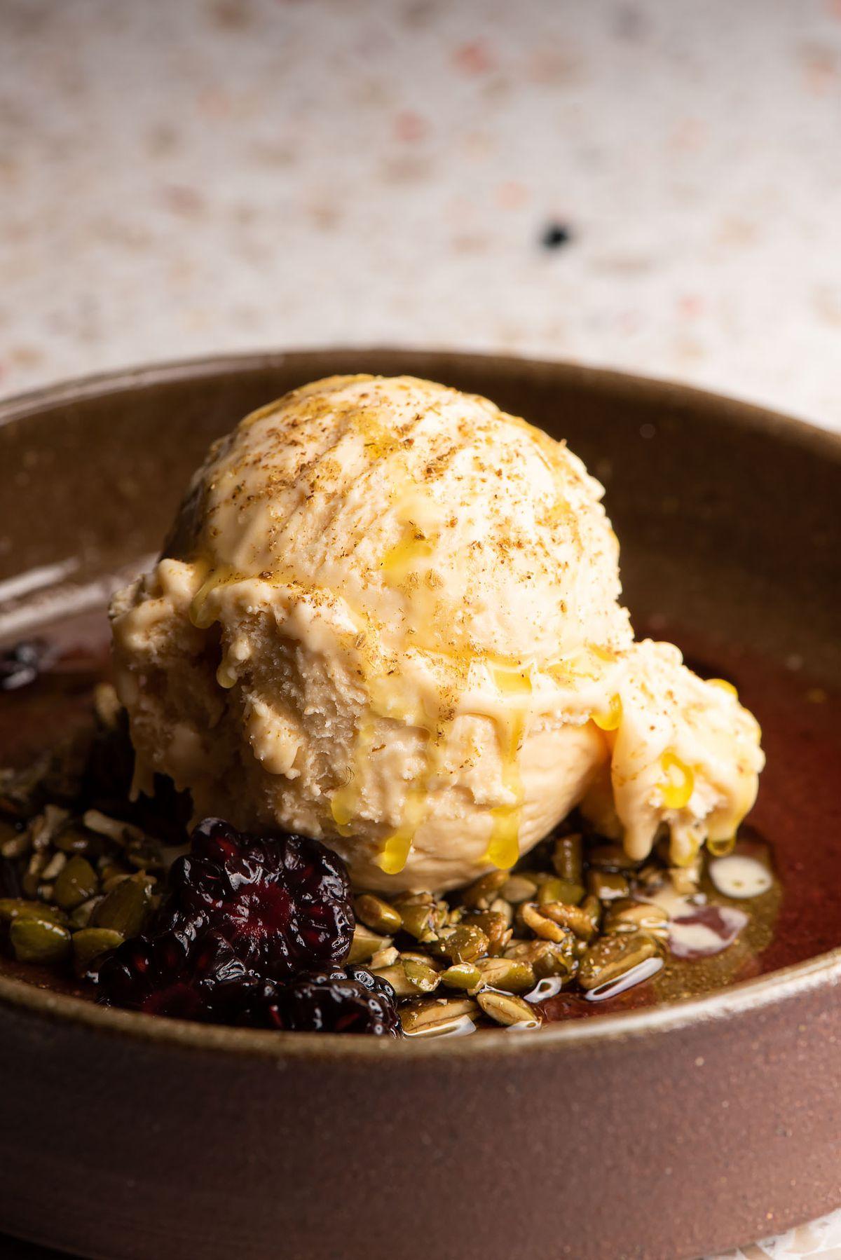 A creamy semifreddo scoop for dessert.