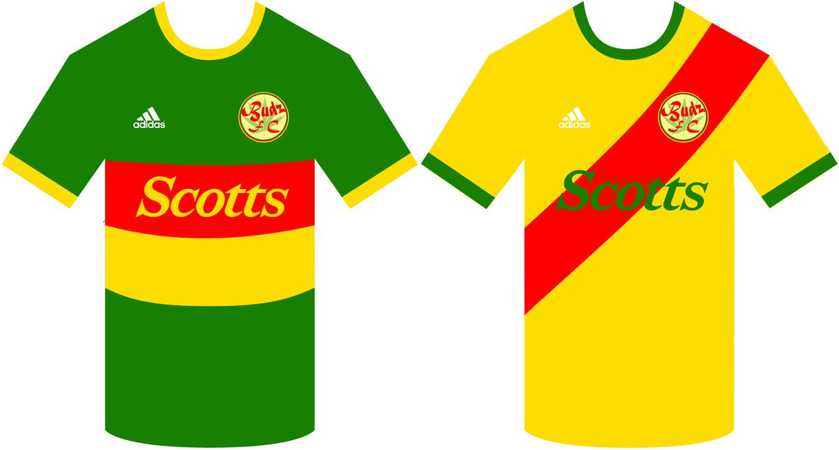 The kits of FC Budz, from the Computer Generated Bundesliga.