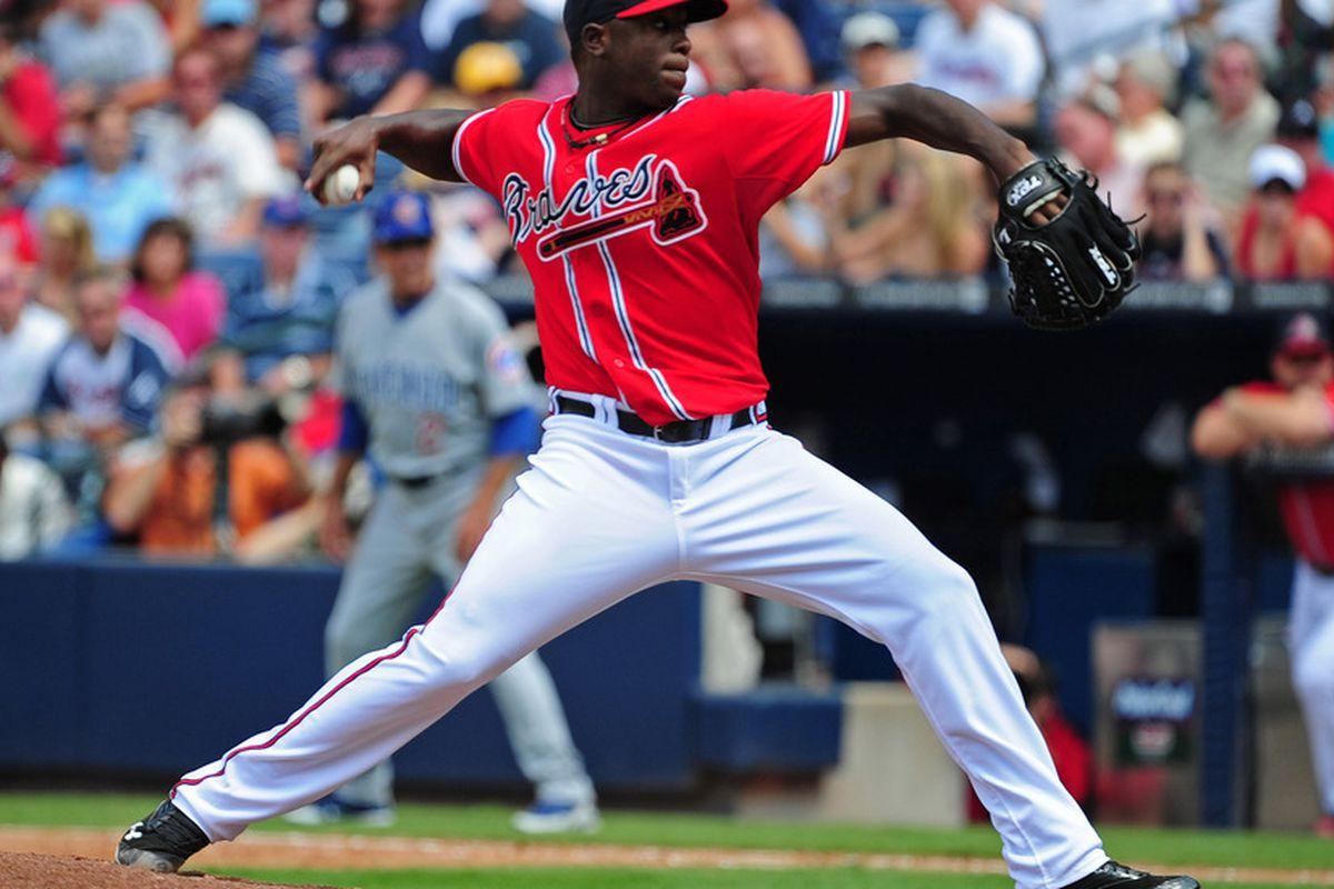 Arodys Vizcaino of the Atlanta Braves. (Photo by Scott Cunningham/Getty Images)