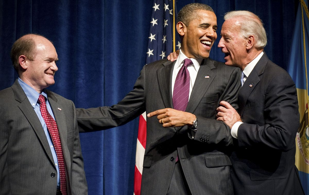 President Barack Obama and Vice President Joe Biden at an event to support Democratic Candidate Chris Coons, in Wilmington, Delaware on October 15, 2010.