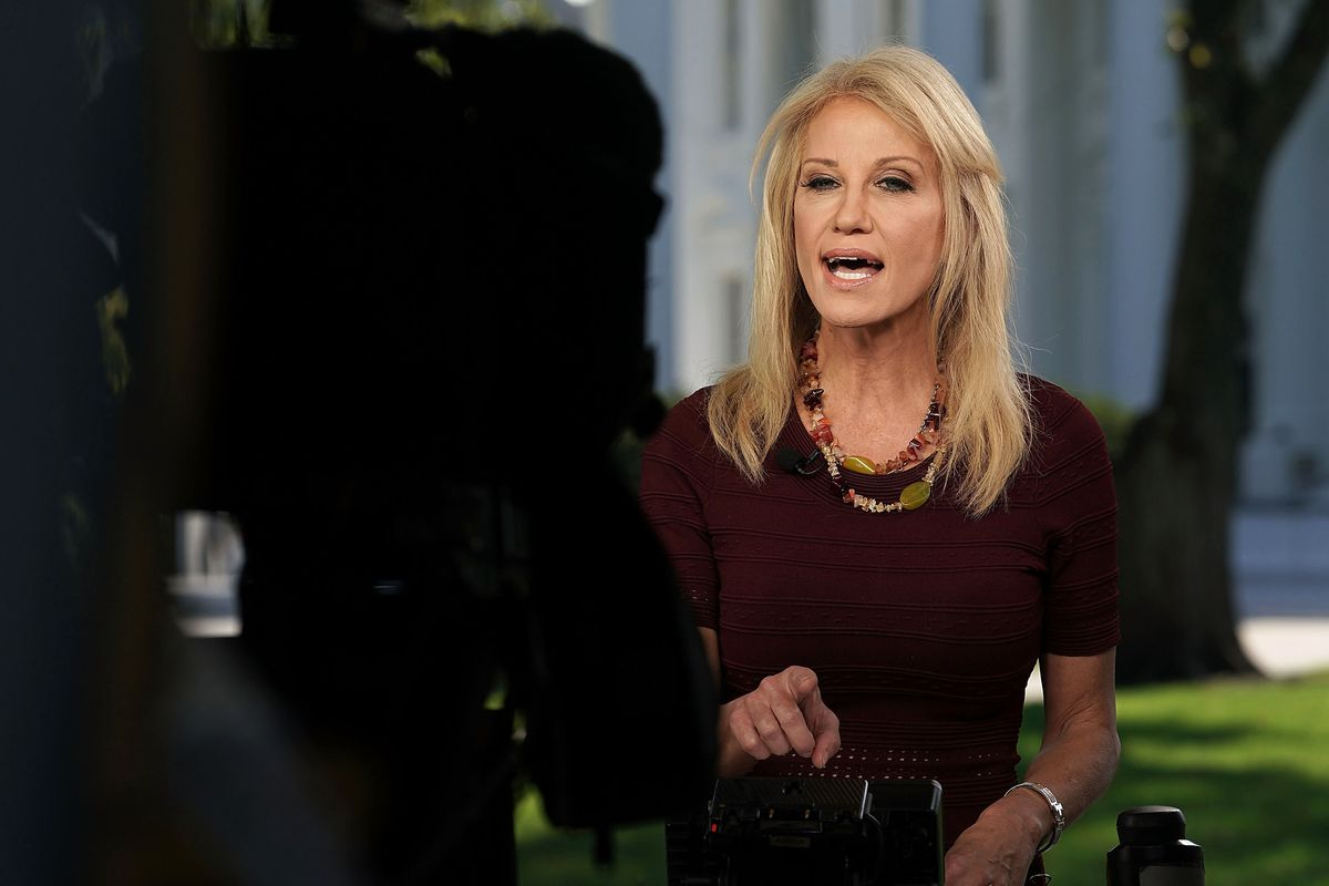 White House Adviser Kellyanne Conway Speaks To Media At The White House