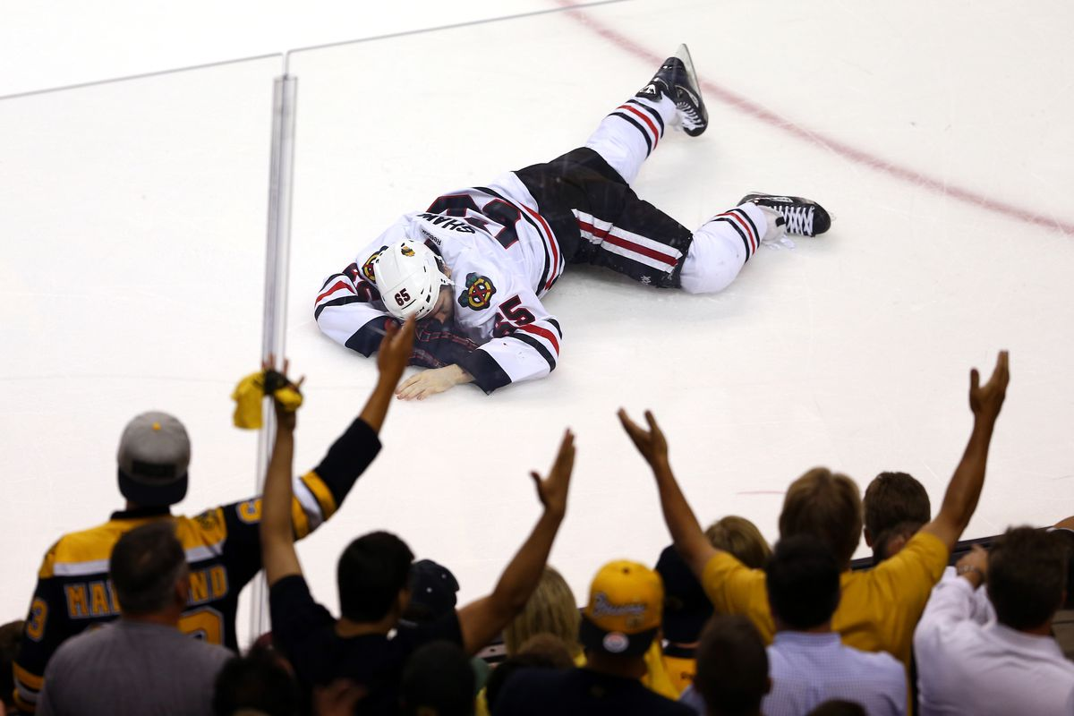 Andrew Shaw took a puck to the face in SCF Game #6