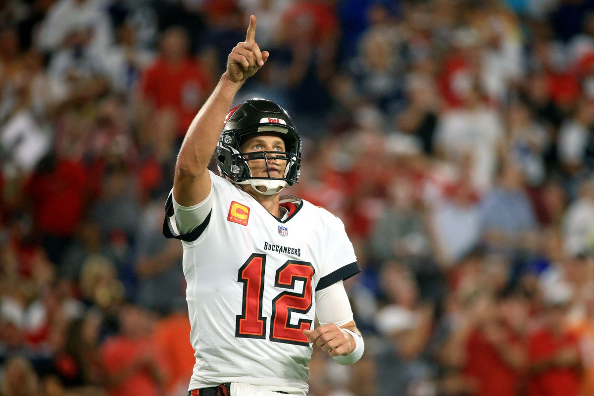 Tom Brady of the Tampa Bay Buccaneers reacts after a touchdown against the Dallas Cowboys during the second quarter at Raymond James Stadium on September 09, 2021 in Tampa, Florida.