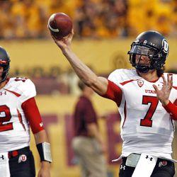 Utah Utes quarterback Travis Wilson (7)during warmups as the Univeristy of Utah and Arizona State University play PAC 12 football Saturday, Sept. 22, 2012, in Tempe, Arizona.
