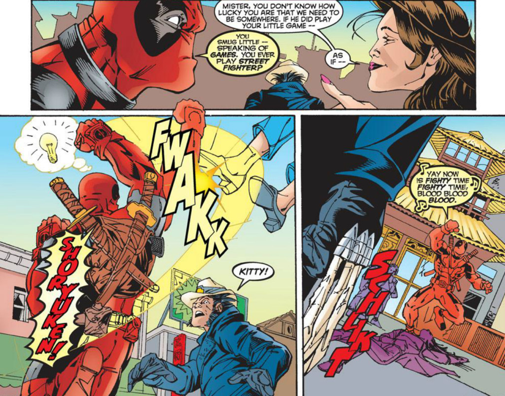 Yes, this is Deadpool performing a Shoryuken on Kitty Pryde (Deadpool #27/Marvel)