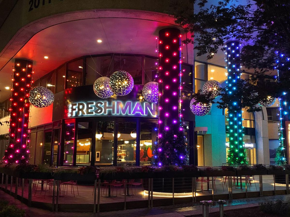 The Freshman all lit up for Pride
